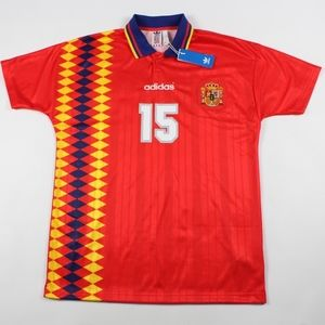 New Adidas Spain World Cup Retro Soccer Jersey Red